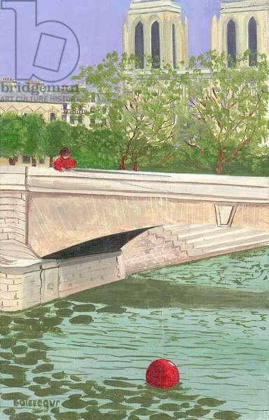 Notre Dame Bridge, Paris (oil on canvas)