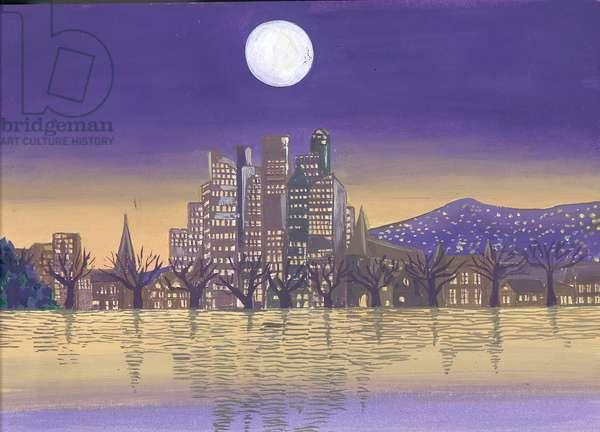 City at Moonlight (oil on paper)