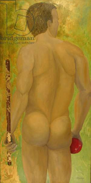Cricket Player (oil on canvas)