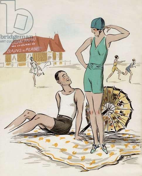 Advertisement by Sem (Georges Goursat) for bathing suit by Jean Patou c. 1928