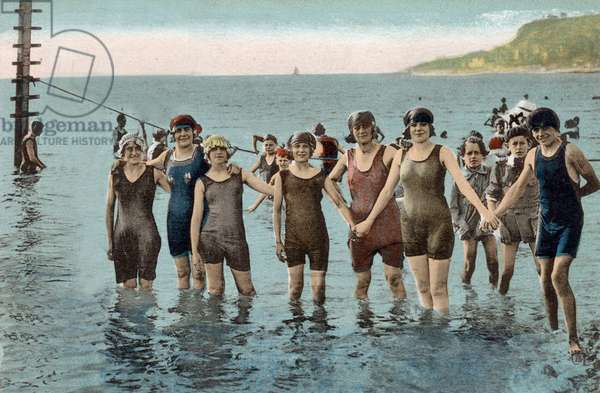 a group of bathers at the beach, postcard, c. 1920