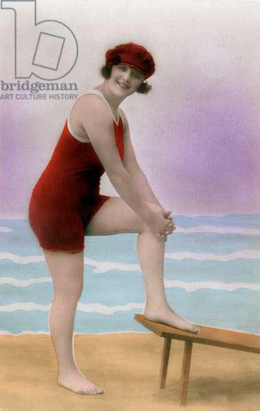 A bather on the beach, postcard, c. 1915