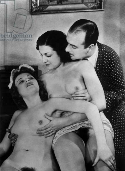 A man with two prostitutes, 1930s-40s (b/w photo)