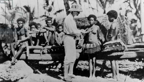 Bronislaw Kaspar Malinowski (1884-1942) Polish ethnographer, with women of Trobriand Islands, New Guinea in 1915-18