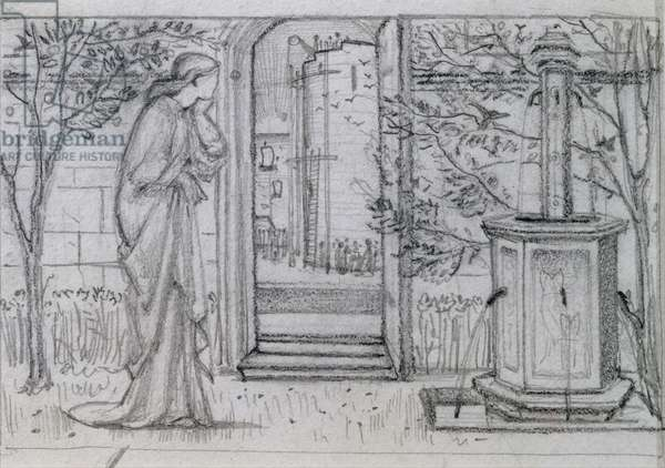 A Study for Danae and the Brazen Tower, 1869-70 (pencil on paper)