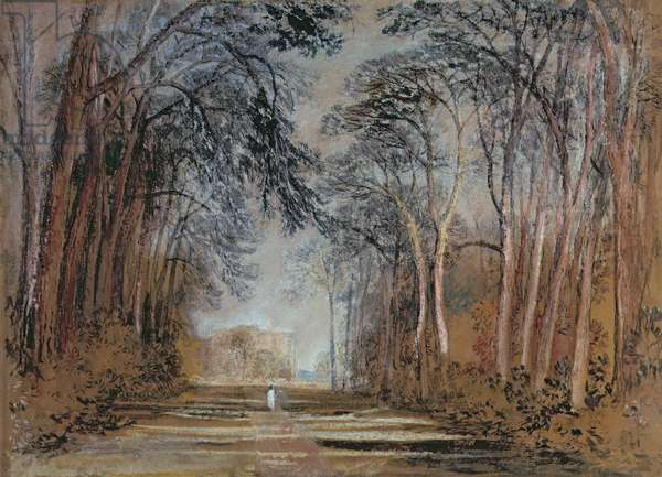 Farnley Avenue, Farnley Hall, Yorkshire (pencil, chalk, watercolour, gouache & water)