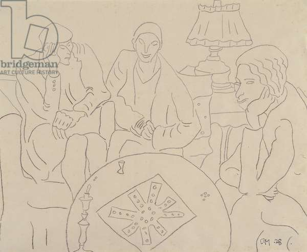 The Game of Ludo, 1928 (pencil on paper)