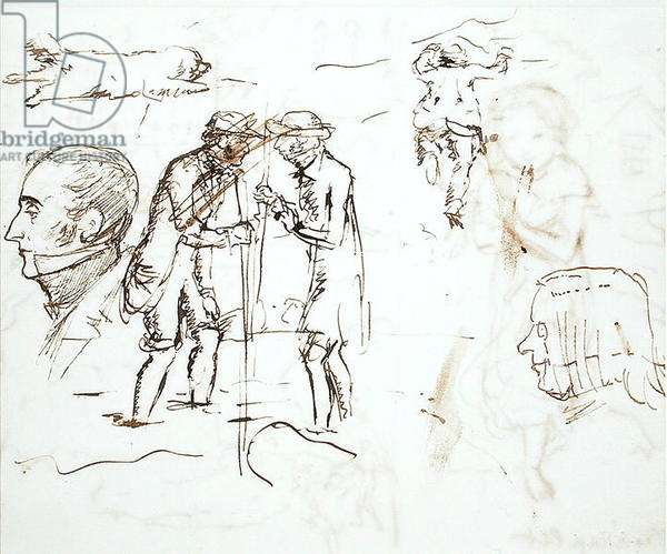 A Sheet of studies with John Ruskin (1819-1900) and William Millais, 1853 (pen & ink on paper)