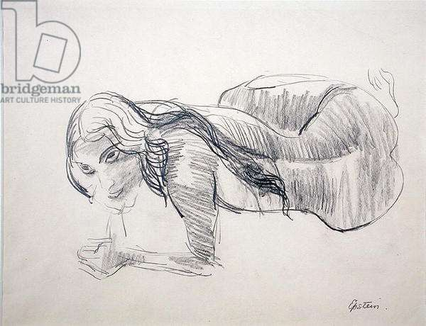 Reclining Nude (ink wash on paper)