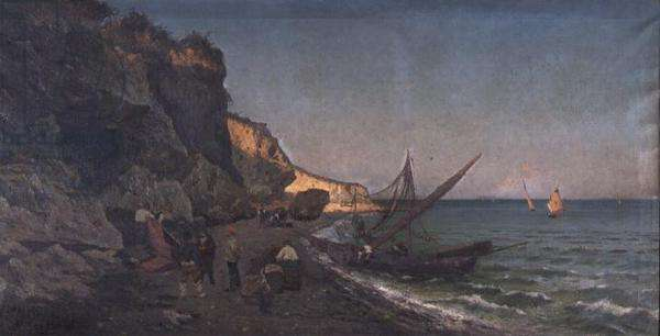Fishermen in a Cove at Sunset