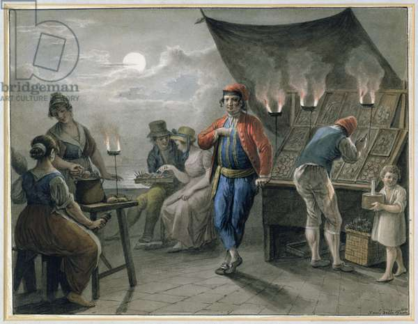 Figures by a Stall at Night, 1819 (pencil & w/c)