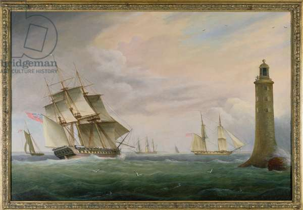 A Frigate and a Naval Brig passing the Eddystone Lighthouse