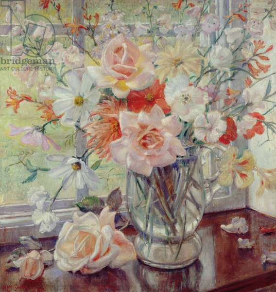A Still Life of Summer Flowers in a Glass Jug, 1938