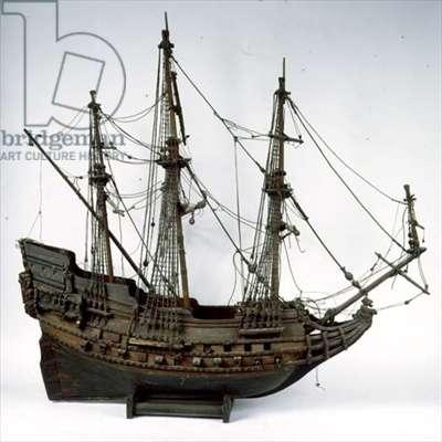 Display Model of a three-masted Man o'War, 17th century