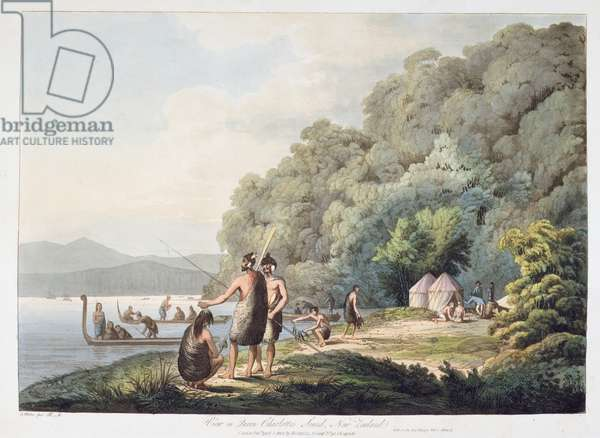 View in Queen Charlotte's Sound, New Zealand, from 'Views in the South Seas', 1809 (hand-coloured aquatint)