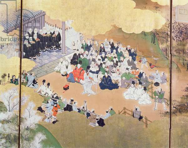 Scenes of urban life under the 'Bakufu' government, from a performance of Noh Drama, Tosa School, 1800, Japanese, (detail from six-fold screen, see 67712), (colour woodblock print)