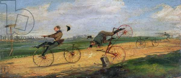 A Race between Lallement Velocipedes, 1869 (oil on canvas)
