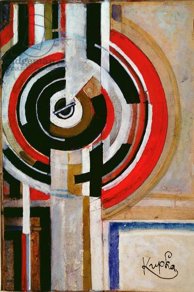 Circles and Verticals, c.1930 (gouache, collage)