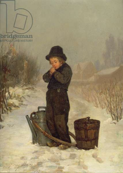 Warming His Hands, 1867 (oil on panel)