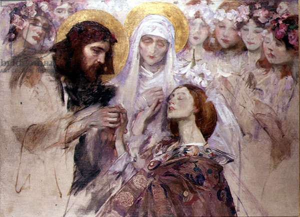 Christ Blessing a Young Woman (oil on canvas)