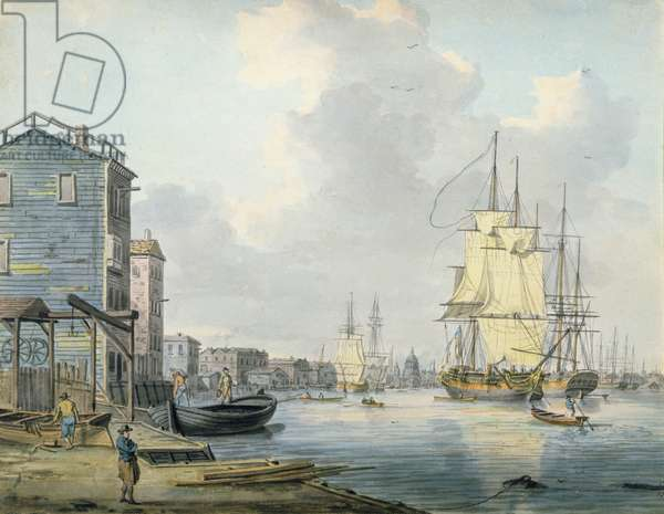 The Thames at Rotherhithe, 1790s, (w/c)