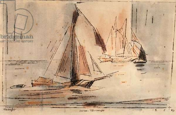 Boats on the Baltic, 1927 (pen and ink and watercolour)