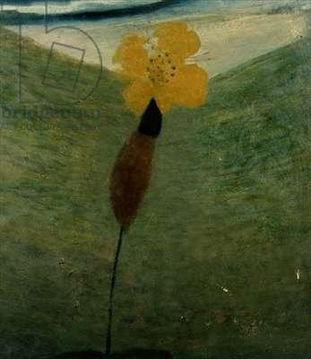 Spring Bird tearing Yellow Flower, 1971 (board)