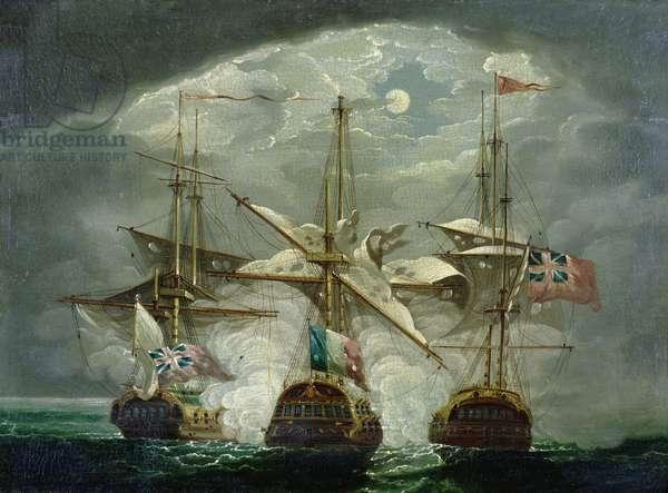 A Moonlit Battle Scene (panel)