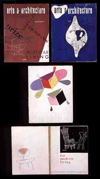 A Selection of Cover Designs, from TL-BR:  Arts and Architecture Magazine, by Ray Eames (1912-88), 1943: Arts and Architecture Magazine, by Ray Eames (1912-88), 1944: Portfolio Magazine, by Charles Eames (1907-70) and Ray Eames (1912-88): 'An Exhibition for Modern Living', an Exhibition Catalogue, 1949 (colour litho)