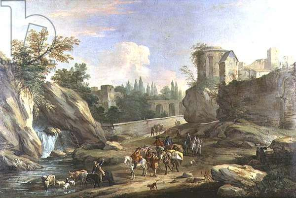 Travellers in the Campagna, 1710