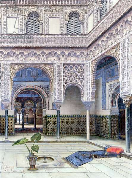 Interior of a palace, Seville (w/c on paper)