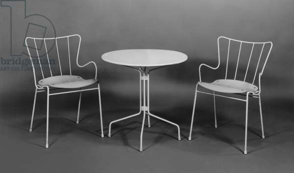 Two Antelope chairs and matching occasional table designed by Ernest Race (1913-64) 1950 (b/w photo)