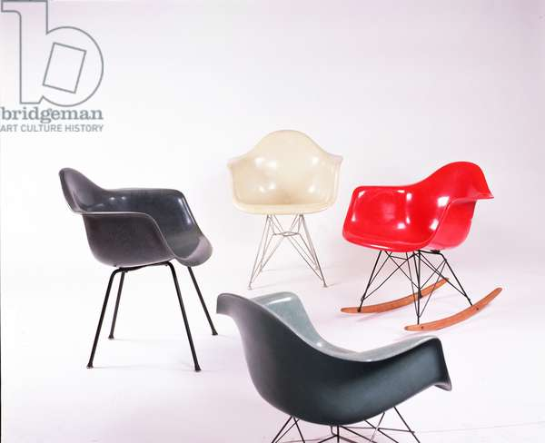Clockwise from Top: DAR (Dining Armchair Rod); RAR (Rocker Base Armchair); DAR (Dining and Desk Chair); A Production 'X' Base DAX (Dining and Desk Chair), all designed by Eames, Charles (1907-70) and Ray (1912-88), 1953 (fibreglass, metal and wood)