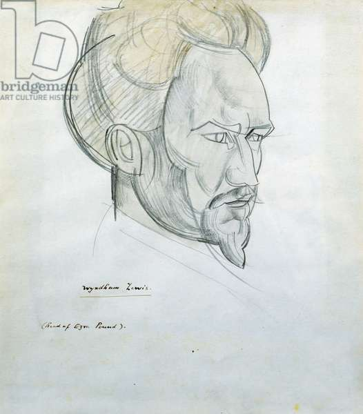 Head of Ezra Pound, c.1920 (pencil and wash)