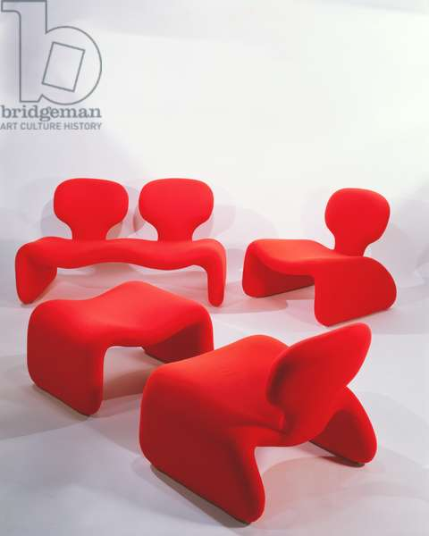 'Djinn' two-seater sofa, pair of easy chairs and stool, designed by Olivier Mourgue for Airbourne, 1965 (mixed media)