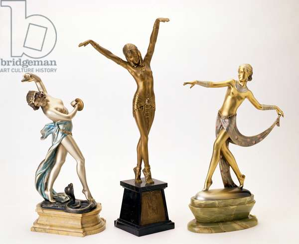 L-R:Cast of The Snake Charmer by Eduardo Rossi; cast of The Egyptian Dancer by Dimitri Chiparus (1888-1950); cast of Dancer by Joseph Lorenzl (1892-1950)