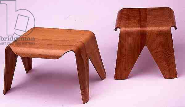 Two Early Child's Stools, designed by Eames, Charles (1907-70) and Ray (1912-88), 1946 (moulded plywood and laminated birch)