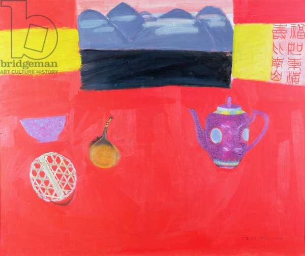 Still Life - Red Table with Chinese Teapot, 1991