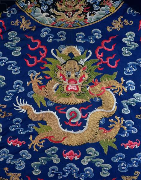 A blue-ground embroidered Kesi dragon robe, detail of dragon (silk)