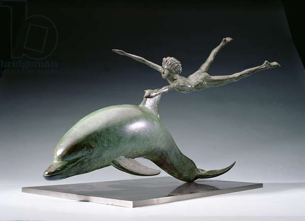 Boy and the Dolphin, 1975 (bronze with patina)