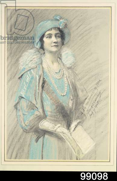 Portrait of H.R.H. The Duchess of York, future Queen Elizabeth the Queen Mother (1900-2002) 1935 (pastel on paper)