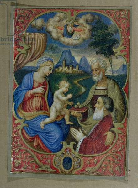 Venetian senator (probably named Nicola Gritti) being presented to the Virgin and Child by St. Nicholas, Venetian manuscript, c.1550 (tempera on vellum on paper)
