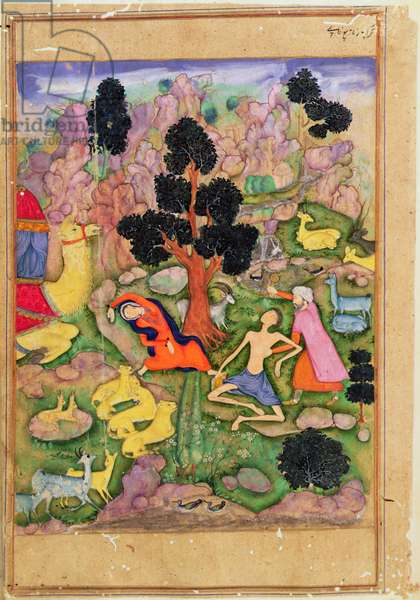 f.28a Layla and Majnun faint at their meeting, illustration to a poem of the Khamsa called 'Majnun Layla', Royal Mughal manuscript (original written by Amir Khusrau Dihlavi (1253-1325) and possibly illuminated by Husain Naquash (16th century) Indian, 1600