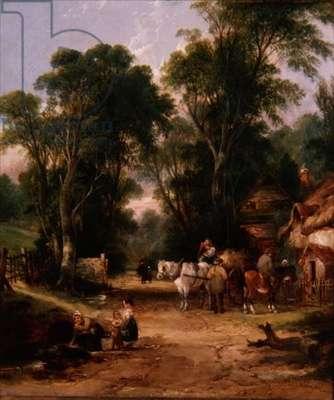 Village Scene with Figures, 1834