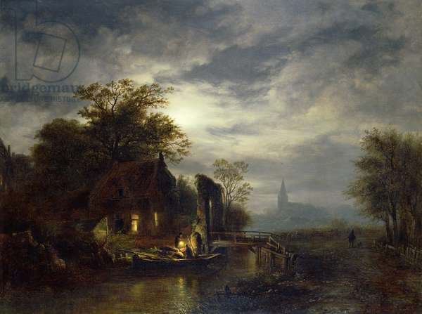 Moonlit river scene with figures unloading a boat