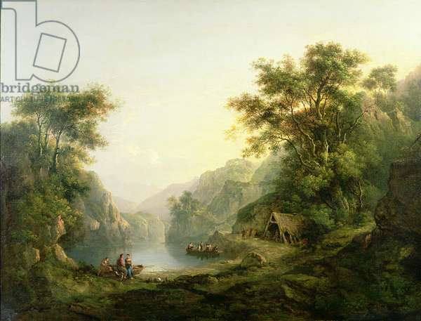 The Fishing Party, Loch Katrine, Scotland (oil on panel)