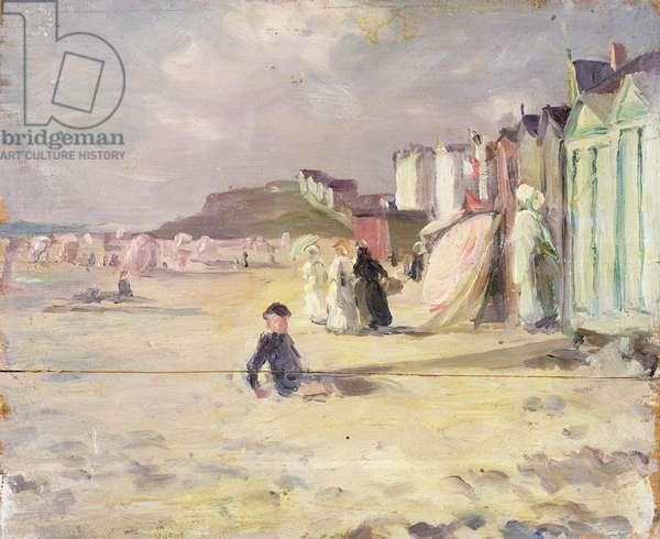 Figures walking beside a line of beach huts (panel)