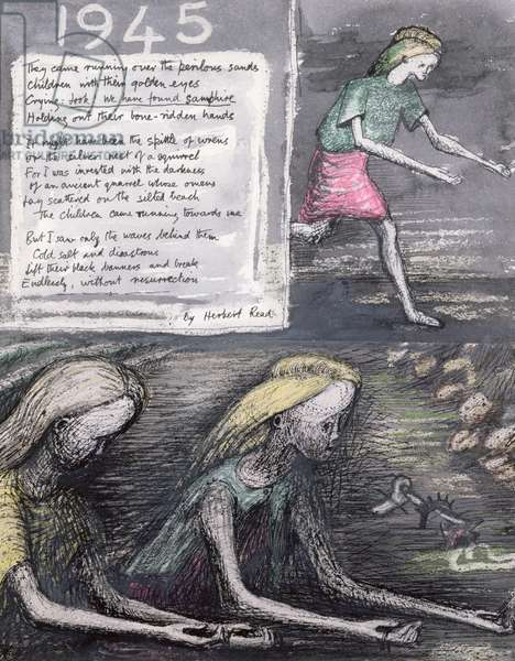 Illustration for a poem by Sir Herbert Read, 1946 (pencil, w/c, crayon, pen & ink with gouache) (For reverse side see 62221)