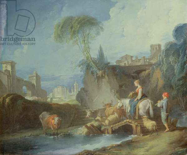 Crossing the Bridge, late 1730s (left half of original painting with 73442)