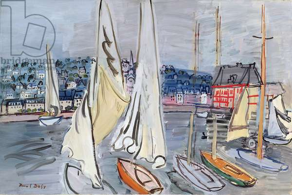 Sailing Boats in Deauville Harbour, 1936 (oil on canvas)